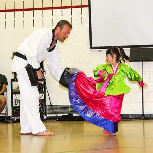 Student doing taekwondo